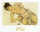Kneeling Half Naked 2 Poster by Egon Schiele