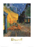 Pavement Cafe at Night White Border Prints by Vincent van Gogh