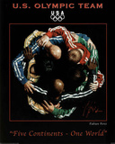 Five Continents One World 2010 U.S. Olympic Team Posters by Fabian Perez
