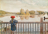 Girl Fishing Art by Carl Larsson