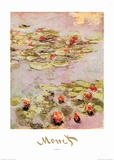 Red Nympheas Art par Claude Monet