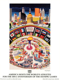America Hosts World's Athletes Atlanta, c.1996 Olympics Prints by Dong Kingman