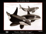 Wyland Faster Higher Stronger Orca Whales U.S. Olympics Team Plakaty