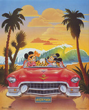 Mickey and Minnie Mouse Beach Car Affiches