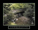 Communicate Bridge over River Motivational Reprodukcje