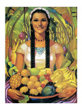 Woman Holding Bowl of Fruit Posters