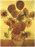 Fifteen Sunflowers on Gold, c.1888 Posters by Vincent van Gogh