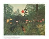 Urwaldlandschaft mit untergehender Sonne Kunstdruck von Henri Rousseau