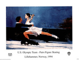 US Olympic Team Pairs Figure Skating Lillehammer, c.1994 Poster by Bart Forbes