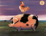 Moon Over Pig and Rooster Poster par DeFrancesco