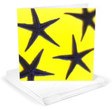 Starfish Indigo Blue on Yellow Greeting Cards 12 Per Package Note Card Sets