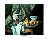 Peaches and Pitcher Poster by Paul Cézanne