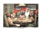 A Bold Bluff Dogs Playing Poker Print by Cassius Marcellus Coolidge