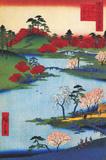 Cherry Blossoms at the Hachiman Shrine in Fukagawa Kunst von Ando Hiroshige