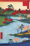 Cherry Blossoms at the Hachiman Shrine in Fukagawa Affischer av Ando Hiroshige