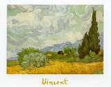 Oat Fields with Cypress Posters by Vincent van Gogh