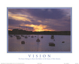 Vision The Future Belongs to Those Who Believe Boats Sunset Motivational Plakaty