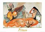 Mujer desnuda tumbada y músico Lámina por Pablo Picasso