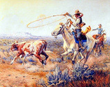 Two Cowboys (Roping) Posters