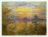 Sunset at Lavacourt Poster by Claude Monet