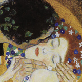 The Kiss (head detail) Print by Gustav Klimt