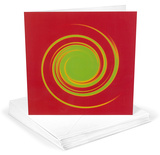 Michael Banks Whirl No 6 Green on Bright Red Greeting Cards 12 Per Package Note Card Sets