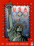 U.S. Olympic Team Athens 2004 Statue of Liberty Poster by Burton Morris