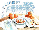 Peach Cobbler Recipe Food Pie Dessert Poster