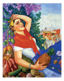 Woman Holding Fruit Art by A. Gomez