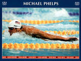 Michael Phelps Swimming World Record Times Olympics Plakaty