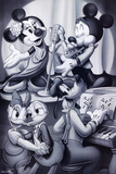 Mickey Mouse and Friends Nightclub Black and White Posters