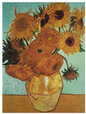Twelve Sunflowers on Blue, c.1888 高画質プリント : フィンセント・ファン・ゴッホ