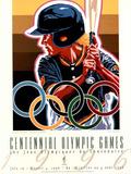 Olympic Softball, c.1996 Atlanta Plakat af Hiro Yamagata