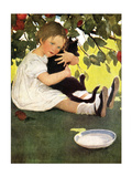 Girl and Cat Affiches par Jessie Willcox-Smith