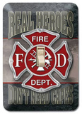 Real Heroes Don&#39;t Need Capes Firemen Light Switch Plate Tin Sign