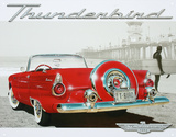 Ford Thunderbird T-Bird Beach Scene Tin Sign