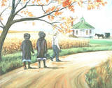 Amish Boy & Girls (Walking to School) Print