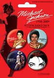 Michael Jackson - Red, Commemorative Music Button Pin 4-Pack Badge