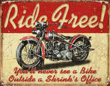 Ride Free Motorcycle Cartel de metal