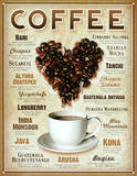 Heart Coffee Blends Tin Sign