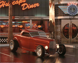 Red Ford Roadster (At Cafe Diner) Poster