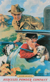 Hercules Powder Company Boy in Car Truck with Hunting Dog Tin Sign
