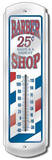 Classic Barber Shop Pole Indoor/Outdoor Weather Thermometer Tin Sign