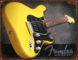 Yellow Fender Guitar Make History Tin Sign
