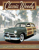 Ford Classic Woody Cruisin the Coast Tin Sign