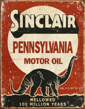 Sinclair Mellowed 100 Million Years Tin Sign