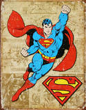 Superman Weathered Panels Cartel de chapa