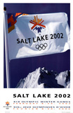 Salt Lake City 2002 Olympics Flag over Mountains Posters