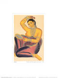 Kalighat Courtesan with Mirror Putting a Rose in Her Hair Art