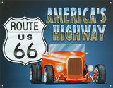 Route 66 America&#39;s Highway Roadster Tin Sign